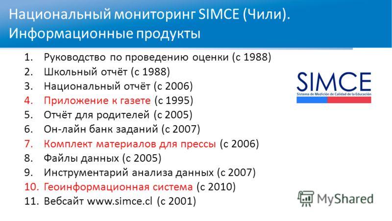 Национальный мониторинг SIMCE (Чили). Информационные продукты 1.Руководство по проведению оценки (с 1988) 2.Школьный отчёт (с 1988) 3.Национальный отчёт (с 2006) 4.Приложение к газете (с 1995) 5.Отчёт для родителей (с 2005) 6.Он-лайн банк заданий (с