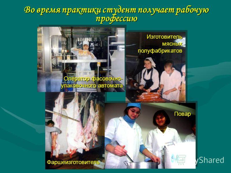 Во время практики студент получает рабочую профессию Повар Оператор фасовочно- упаковочного автомата Изготовитель мясных полуфабрикатов Фаршеизготовитель