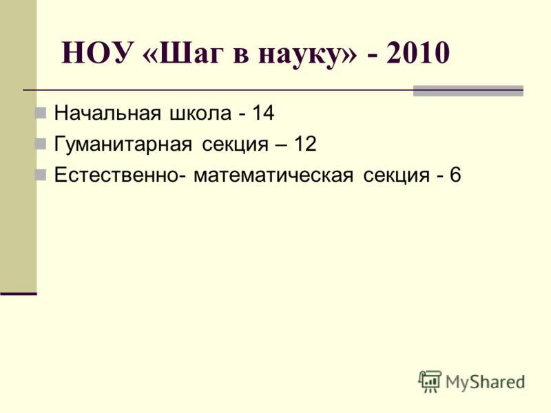НОУ «Шаг в науку» - 2010 Начальная школа - 14 Гуманитарная секция – 12 Естественно- математическая секция - 6