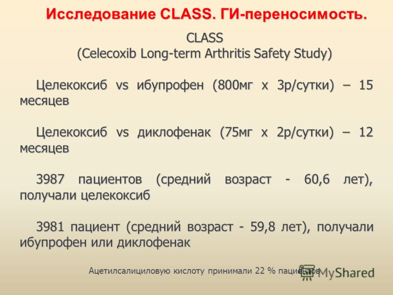 CLASS (Celecoxib Long-term Arthritis Safety Study) Целекоксиб vs ибупрофен (800мг х 3р/сутки) – 15 месяцев Целекоксиб vs диклофенак (75мг х 2р/сутки) – 12 месяцев 3987 пациентов (средний возраст - 60,6 лет), получали целекоксиб 3981 пациент (средний