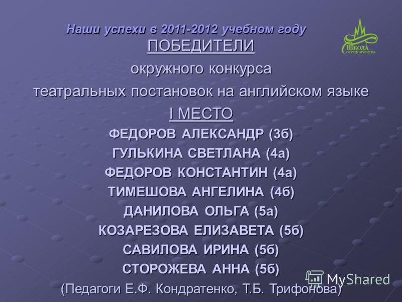 ПОБЕДИТЕЛИ окружного конкурса театральных постановок на английском языке I МЕСТО ФЕДОРОВ АЛЕКСАНДР (3б) ГУЛЬКИНА СВЕТЛАНА (4а) ФЕДОРОВ КОНСТАНТИН (4а) ТИМЕШОВА АНГЕЛИНА (4б) ДАНИЛОВА ОЛЬГА (5а) КОЗАРЕЗОВА ЕЛИЗАВЕТА (5б) САВИЛОВА ИРИНА (5б) СТОРОЖЕВА