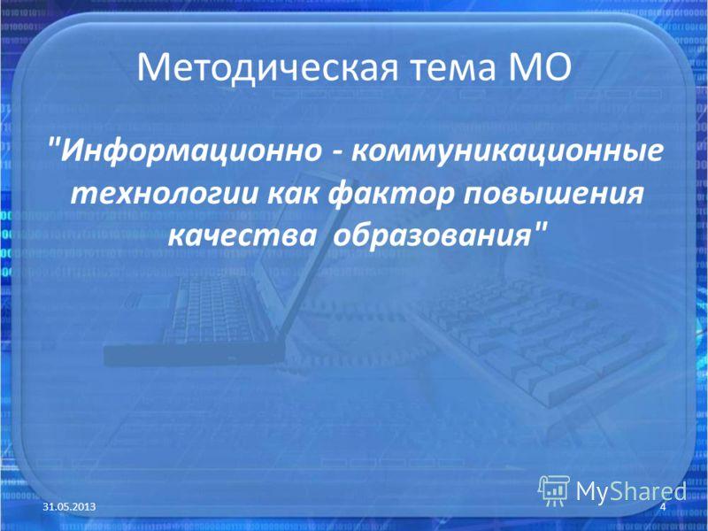 Методическая тема МО Информационно - коммуникационные технологии как фактор повышения качества образования 31.05.20134