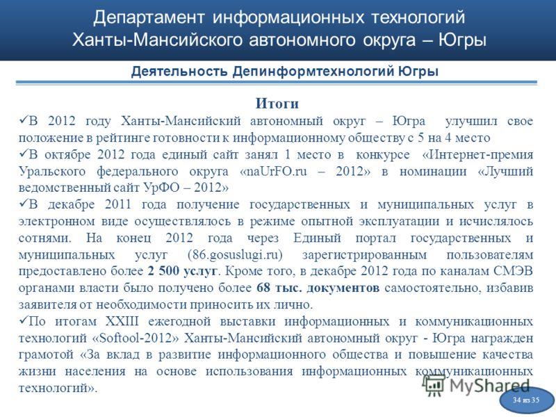 Департамент информационных технологий Ханты-Мансийского автономного округа – Югры Итоги В 2012 году Ханты-Мансийский автономный округ – Югра улучшил свое положение в рейтинге готовности к информационному обществу с 5 на 4 место В октябре 2012 года ед