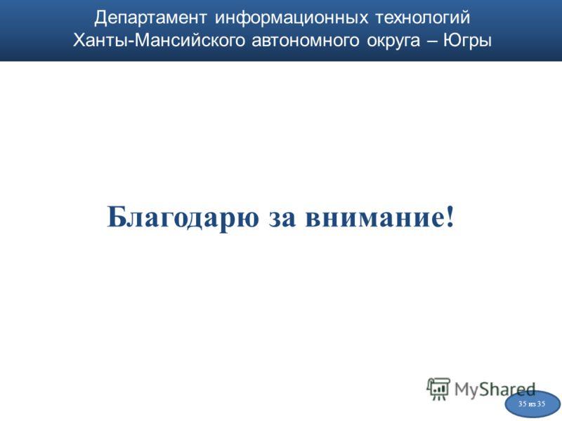 Департамент информационных технологий Ханты-Мансийского автономного округа – Югры Благодарю за внимание! Департамент информационных технологий Ханты-Мансийского автономного округа – Югры 35 из 35