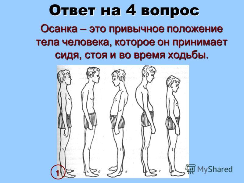 Ответ на 4 вопрос Осанка – это привычное положение тела человека, которое он принимает сидя, стоя и во время ходьбы. Осанка – это привычное положение тела человека, которое он принимает сидя, стоя и во время ходьбы. 1
