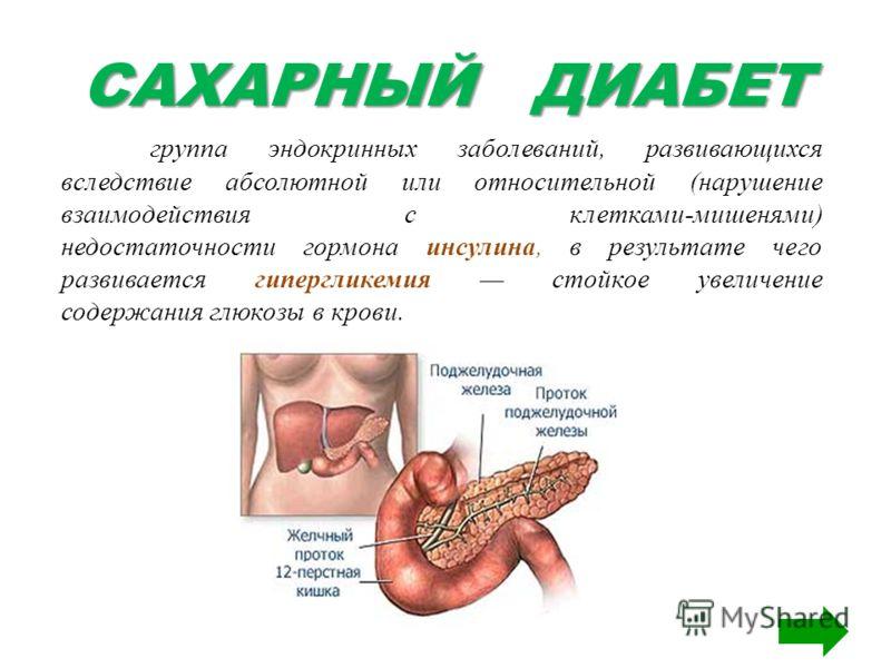 САХАРНЫЙ ДИАБЕТ группа эндокринных заболеваний, развивающихся вследствие абсолютной или относительной (нарушение взаимодействия с клетками-мишенями) недостаточности гормона инсулина, в результате чего развивается гипергликемия стойкое увеличение соде