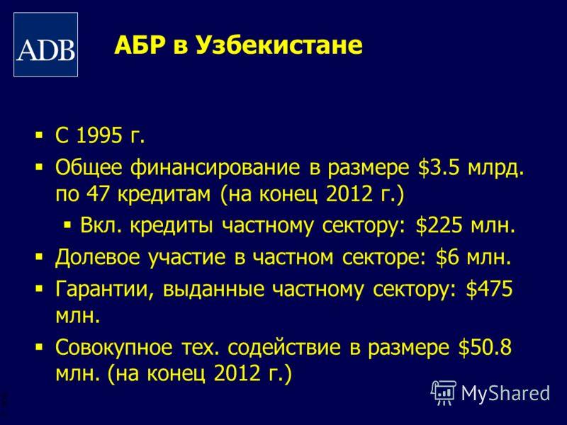BOS 2 АБР в Узбекистане С 1995 г. Общее финансирование в размере $3.5 млрд. по 47 кредитам (на конец 2012 г.) Вкл. кредиты частному сектору: $225 млн. Долевое участие в частном секторе: $6 млн. Гарантии, выданные частному сектору: $475 млн. Совокупно