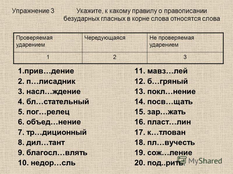 Упражнение 3 1.прив…дение 11. мавз…лей 2. п…лисадник12. б…гряный 3. насл…ждение13. покл…нение 4. бл…стательный14. посв…щать 5. пог…релец15. зар…жать 6. объед…нение16. пласт…лин 7. тр…диционный17. к…тлован 8. дил…тант18. пл…вучесть 9. благосл…влять19.
