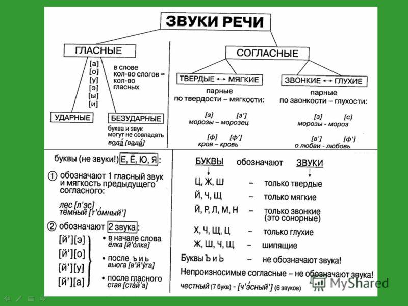Звуки русского языка в таблицах и схемах
