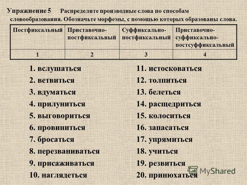 Упражнение 5 1. вслушаться11. истосковаться 2. ветвиться12. толпиться 3. вдуматься13. белеться 4. прилуниться 14. расщедриться 5. выговориться15. колоситься 6. провиниться16. запасаться 7. бросаться17. упрямиться 8. перезваниваться18. учиться 9. прис