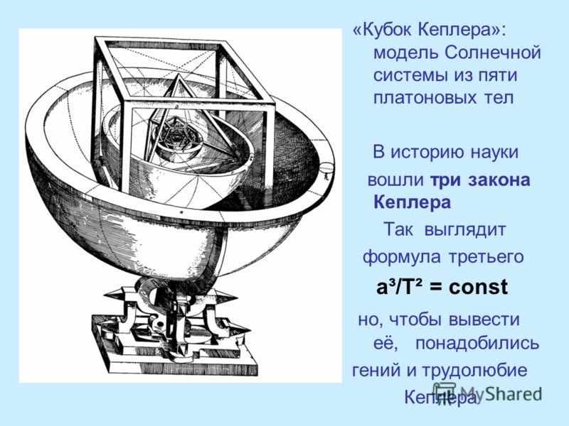 «Кубок Кеплера»: модель Солнечной системы из пяти платоновых тел В историю науки вошли три закона Кеплера Так выглядит формула третьего a³/T² = const но, чтобы вывести её, понадобились гений и трудолюбие Кеплера