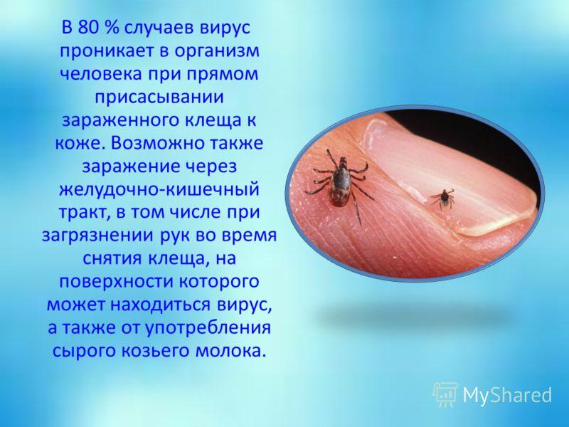 В 80 % случаев вирус проникает в организм человека при прямом присасывании зараженного клеща к коже. Возможно также заражение через желудочно-кишечный тракт, в том числе при загрязнении рук во время снятия клеща, на поверхности которого может находит