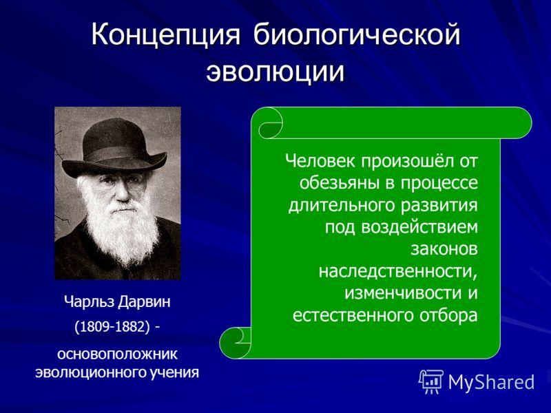 Концепция биологической эволюции Чарльз Дарвин (1809-1882) - основоположник эволюционного учения Человек произошёл от обезьяны в процессе длительного развития под воздействием законов наследственности, изменчивости и естественного отбора