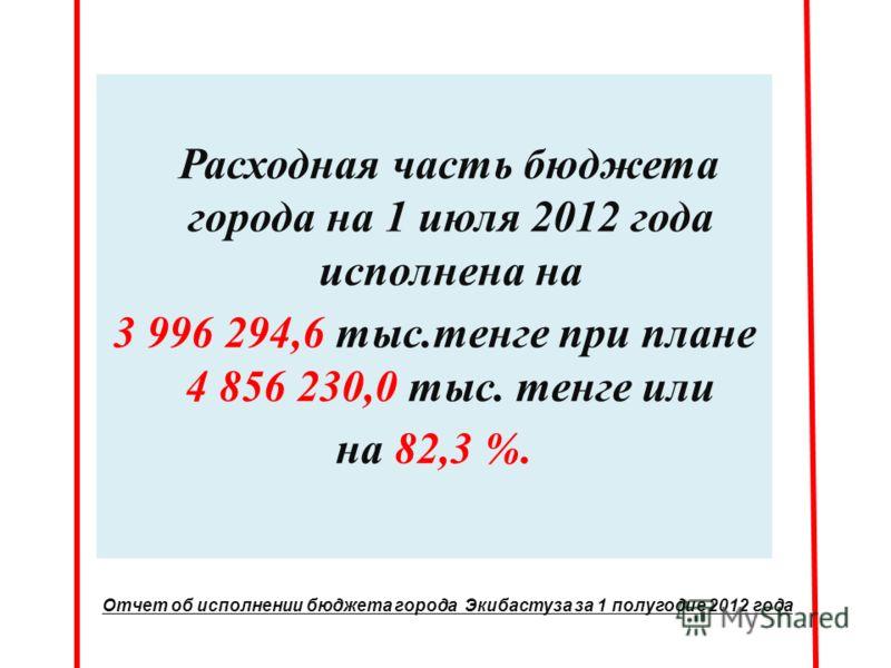 Расходная часть бюджета города на 1 июля 2012 года исполнена на 3 996 294,6 тыс.тенге при плане 4 856 230,0 тыс. тенге или на 82,3 %. Отчет об исполнении бюджета города Экибастуза за 1 полугодие 2012 года