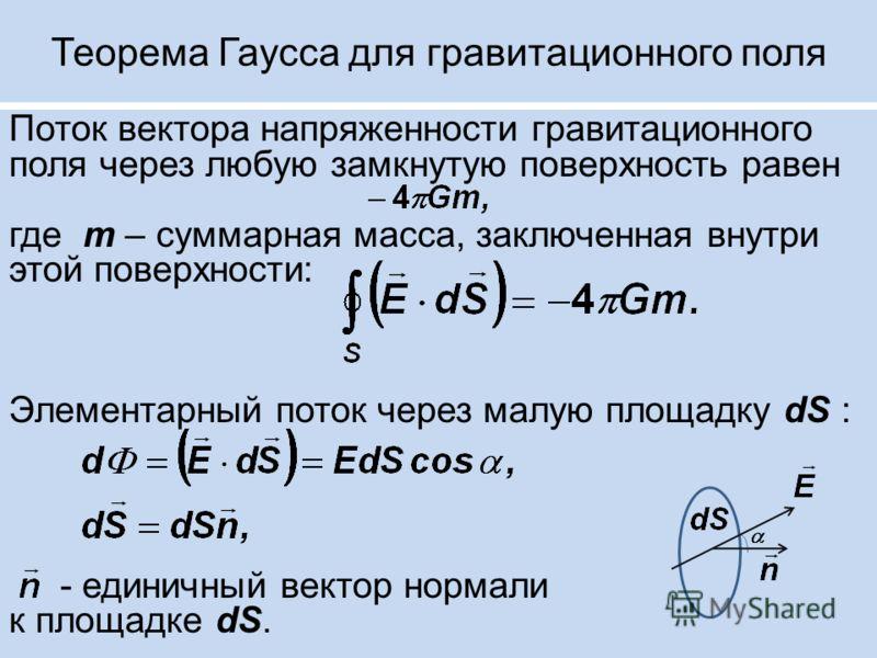 Теорема Гаусса для гравитационного поля Поток вектора напряженности гравитационного поля через любую замкнутую поверхность равен где m – суммарная масса, заключенная внутри этой поверхности: Элементарный поток через малую площадку dS : - единичный ве