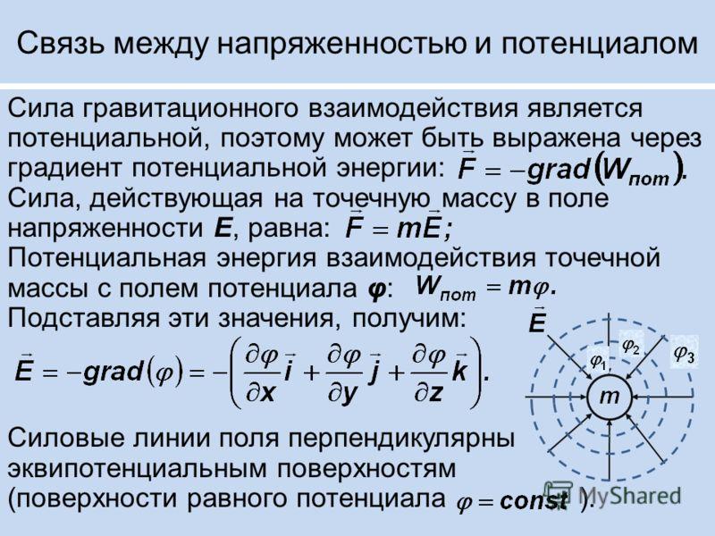 Связь между напряженностью и потенциалом Сила гравитационного взаимодействия является потенциальной, поэтому может быть выражена через градиент потенциальной энергии: Сила, действующая на точечную массу в поле напряженности Е, равна: Потенциальная эн