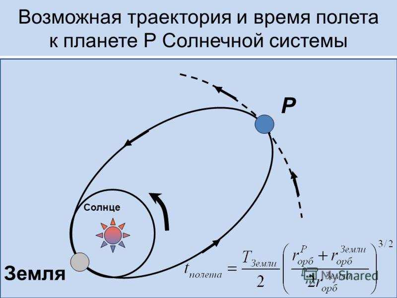 Возможная траектория и время полета к планете Р Солнечной системы P Земля Солнце