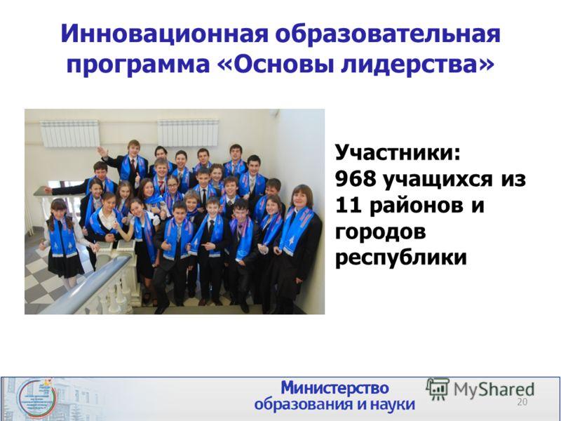 Инновационная образовательная программа «Основы лидерства» 20 Участники: 968 учащихся из 11 районов и городов республики