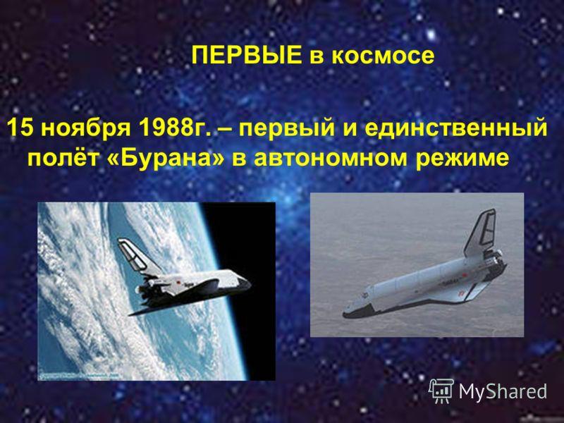 ПЕРВЫЕ в космосе 15 ноября 1988г. – первый и единственный полёт «Бурана» в автономном режиме