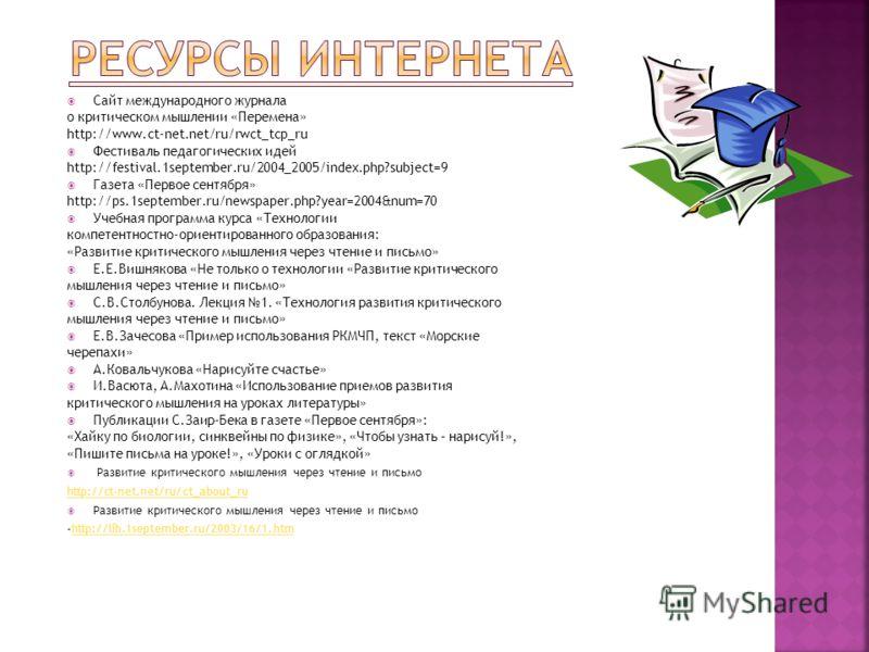 Сайт международного журнала о критическом мышлении «Перемена» http://www.ct-net.net/ru/rwct_tcp_ru Фестиваль педагогических идей http://festival.1september.ru/2004_2005/index.php?subject=9 Газета «Первое сентября» http://ps.1september.ru/newspaper.ph