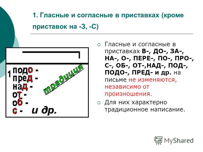 1. Гласные и согласные в приставках (кроме приставок на -З, -С) Гласные и согласные в приставках В-, ДО-, ЗА-, НА-, О-, ПЕРЕ-, ПО-, ПРО-, С-, ОБ-, ОТ-,НАД-, ПОД-, ПОДО-, ПРЕД- и др. на письме не изменяются, независимо от произношения. Для них характе