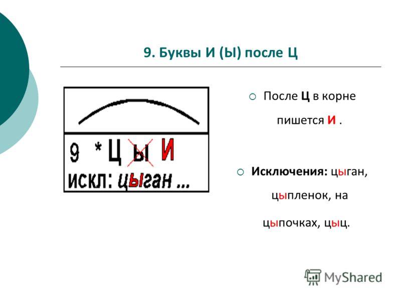 9. Буквы И (Ы) после Ц После Ц в корне пишется И. Исключения: цыган, цыпленок, на цыпочках, цыц.
