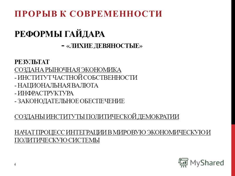 РЕФОРМЫ ГАЙДАРА - «ЛИХИЕ ДЕВЯНОСТЫЕ» РЕЗУЛЬТАТ СОЗДАНА РЫНОЧНАЯ ЭКОНОМИКА - ИНСТИТУТ ЧАСТНОЙ СОБСТВЕННОСТИ - НАЦИОНАЛЬНАЯ ВАЛЮТА - ИНФРАСТРУКТУРА - ЗАКОНОДАТЕЛЬНОЕ ОБЕСПЕЧЕНИЕ СОЗДАНЫ ИНСТИТУТЫ ПОЛИТИЧЕСКОЙ ДЕМОКРАТИИ НАЧАТ ПРОЦЕСС ИНТЕГРАЦИИ В МИРОВ
