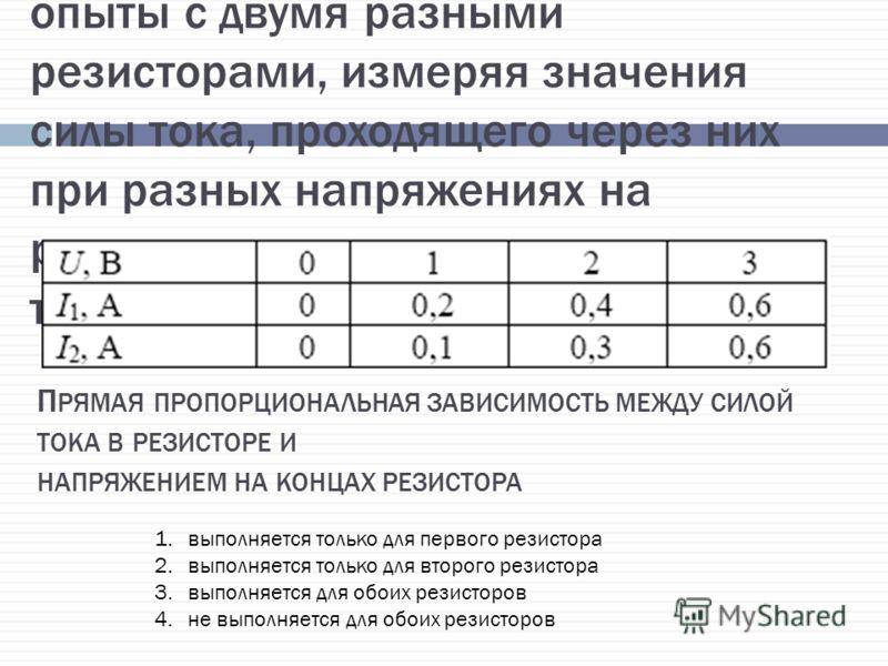 (ГИА 2010 г.) 15. Ученик проводил опыты с двумя разными резисторами, измеряя значения силы тока, проходящего через них при разных напряжениях на резисторах, и результаты заносил в таблицу. П РЯМАЯ ПРОПОРЦИОНАЛЬНАЯ ЗАВИСИМОСТЬ МЕЖДУ СИЛОЙ ТОКА В РЕЗИС