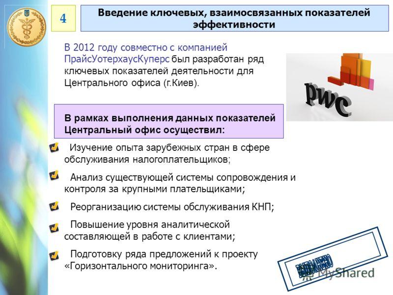 В 2012 году совместно с компанией ПрайсУотерхаусКуперс был разработан ряд ключевых показателей деятельности для Центрального офиса (г.Киев). В рамках выполнения данных показателей Центральный офис осуществил: Изучение опыта зарубежных стран в сфере о