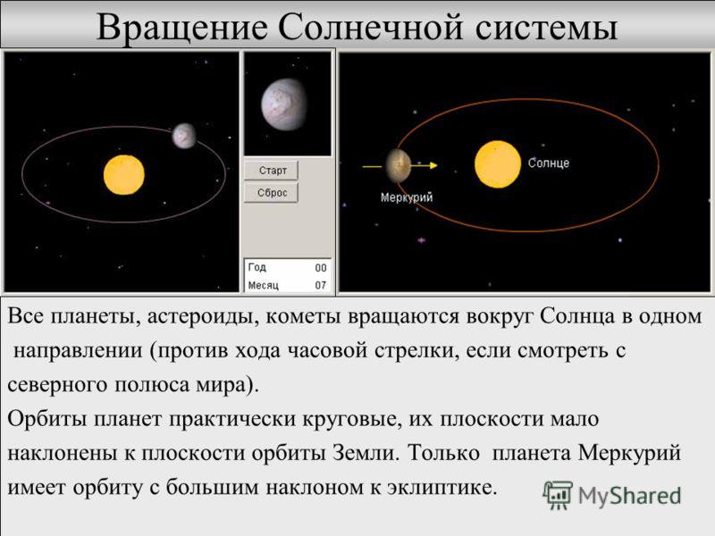 Вращение Солнечной системы Все планеты, астероиды, кометы вращаются вокруг Солнца в одном направлении (против хода часовой стрелки, если смотреть с северного полюса мира). Орбиты планет практически круговые, их плоскости мало наклонены к плоскости ор
