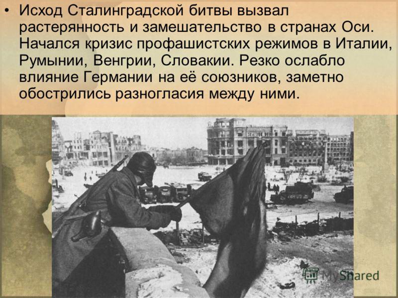 Исход Сталинградской битвы вызвал растерянность и замешательство в странах Оси. Начался кризис профашистских режимов в Италии, Румынии, Венгрии, Словакии. Резко ослабло влияние Германии на её союзников, заметно обострились разногласия между ними.