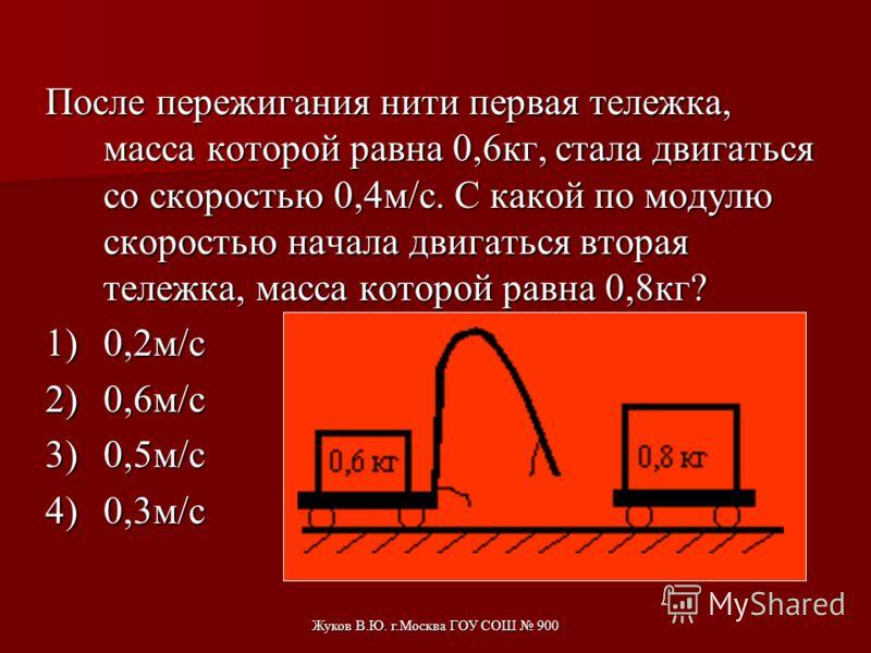 Жуков В.Ю. г.Москва ГОУ СОШ 900 При произвольном делении покоившегося ядра химического элемента образовалось три осколка массой: 3m; 4,5m; 5m. Скорости первых двух взаимно перпендикулярны, а их модули равны соответственно 4υ и 2υ. Определите модуль с