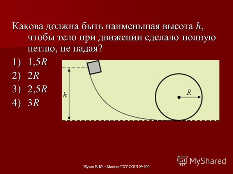 Жуков В.Ю. г.Москва ГОУ СОШ 900 Какую из вершин тележка сможет преодолеть после спуска с «горки», если потерями энергии можно пренебречь? Начальная скорость тележки равна нулю. 1)Только I. 2)I и II. 3)I и III. 4)Преодолеет все.