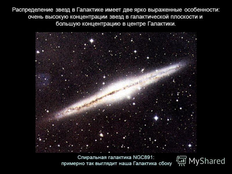 Распределение звезд в Галактике имеет две ярко выраженные особенности: очень высокую концентрации звезд в галактической плоскости и большую концентрацию в центре Галактики. Спиральная галактика NGC891: примерно так выглядит наша Галактика сбоку