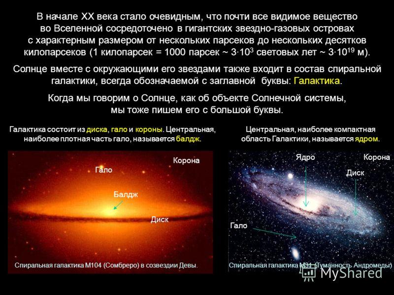 В начале ХХ века стало очевидным, что почти все видимое вещество во Вселенной сосредоточено в гигантских звездно-газовых островах с характерным размером от нескольких парсеков до нескольких десятков килопарсеков (1 килопарсек = 1000 парсек ~ 310 3 св