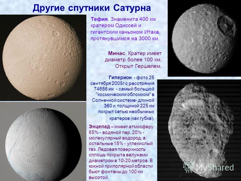 Другие спутники Сатурна Минас. Кратер имеет диаметр более 100 км. Открыт Гершелем. Тефия. Знаменита 400 км кратером Одиссей и гигантским каньоном Итака, протянувшимся на 3000 км. Гиперион - фото 25 сентября 2005г с расстояния 74656 км - самый большой