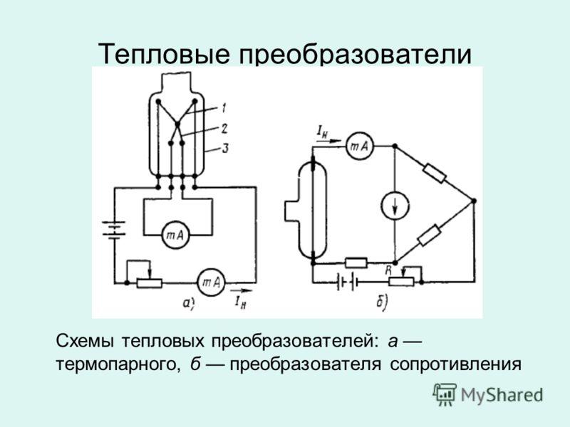 Тепловые преобразователи Схемы тепловых преобразователей: а термопарного, б преобразователя сопротивления