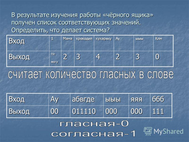 В результате изучения работы «чёрного ящика» получен список соответствующих значений. Определить, что делает система? Вход1МамакрокодилкукарекуАуыыыКлмВыход Не могу 234230 ВходАуабвгдеыыыяяябббВыход00011110000000111