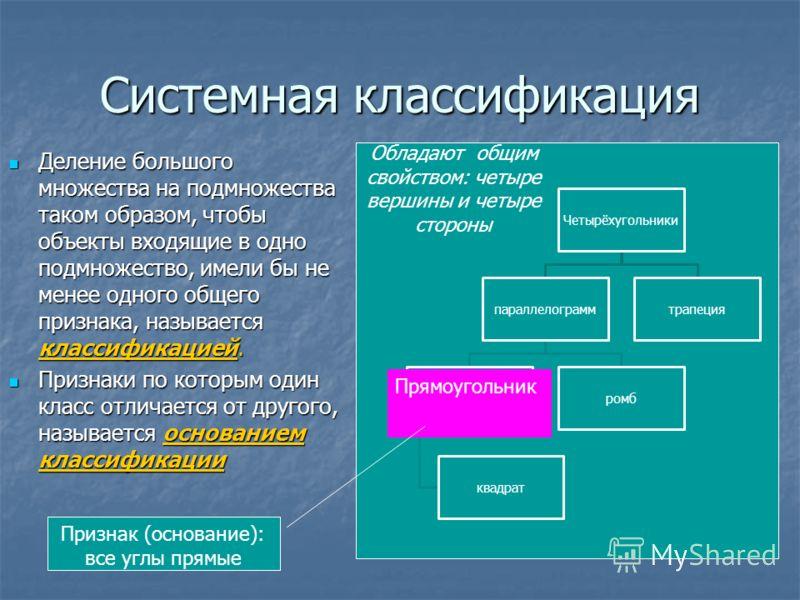 Системная классификация Деление большого множества на подмножества таком образом, чтобы объекты входящие в одно подмножество, имели бы не менее одного общего признака, называется классификацией. Деление большого множества на подмножества таком образо
