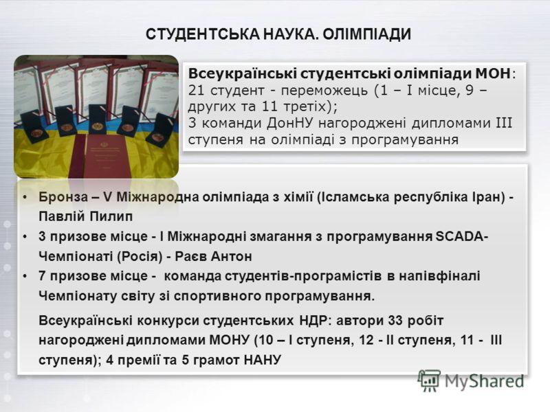 СТУДЕНТСЬКА НАУКА. ОЛІМПІАДИ Бронза – V Міжнародна олімпіада з хімії (Ісламська республіка Іран) - Павлій Пилип 3 призове місце - I Міжнародні змагання з програмування SCADA- Чемпіонаті (Росія) - Раєв Антон 7 призове місце - команда студентів-програм