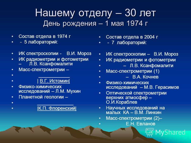 Нашему отделу – 30 лет День рождения – 1 мая 1974 г Состав отдела в 1974 г - 5 лабораторий: ИК спектроскопии - В.И. Мороз ИК радиометрии и фотометрии – Л.В. Ксанфомалити Масс-спектрометрии – ____________ | В.Г. Истомин| Физико-химических исследований