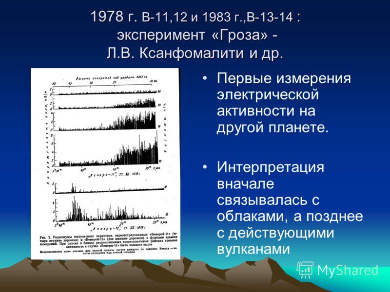 1978 г. В-11,12 и 1983 г.,В-13-14 : эксперимент «Гроза» - Л.В. Ксанфомалити и др. Первые измерения электрической активности на другой планете. Интерпретация вначале связывалась с облаками, а позднее с действующими вулканами