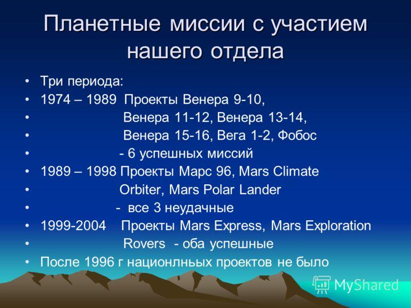 Планетные миссии с участием нашего отдела Три периода: 1974 – 1989 Проекты Венера 9-10, Венера 11-12, Венера 13-14, Венера 15-16, Вега 1-2, Фобос - 6 успешных миссий 1989 – 1998 Проекты Марс 96, Mars Climate Orbiter, Mars Polar Lander - все 3 неудачн