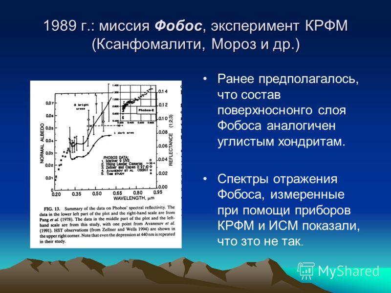 1989 г.: миссия Фобос, эксперимент КРФМ (Ксанфомалити, Мороз и др.) Ранее предполагалось, что состав поверхноснонго слоя Фобоса аналогичен углистым хондритам. Спектры отражения Фобоса, измеренные при помощи приборов КРФМ и ИСМ показали, что зто не та