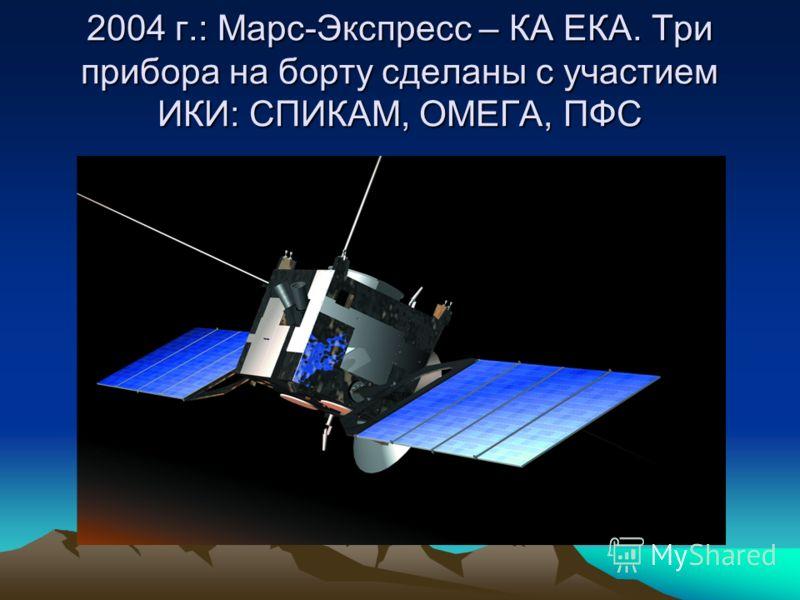 2004 г.: Марс-Экспресс – КА ЕКА. Три прибора на борту сделаны с участием ИКИ: СПИКАМ, ОМЕГА, ПФС