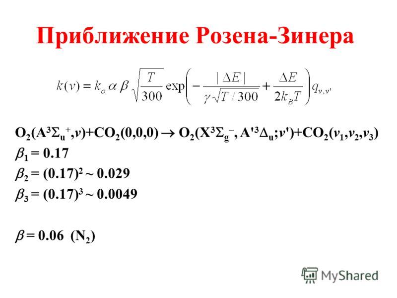 Приближение Розена-Зинера O 2 (A 3 u +,v)+CO 2 (0,0,0) O 2 (X 3 g, A' 3 u ;v')+CO 2 (v 1,v 2,v 3 ) 1 = 0.17 2 = (0.17) 2 ~ 0.029 3 = (0.17) 3 ~ 0.0049 = 0.06 (N 2 )