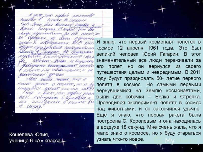 Я знаю, что первый космонавт полетел в космос 12 апреля 1961 года. Это был великий человек Юрий Гагарин. В этот знаменательный все люди переживали за его полет, но он вернулся из своего путешествия целым и невредимым. В 2011 году будут праздновать 50