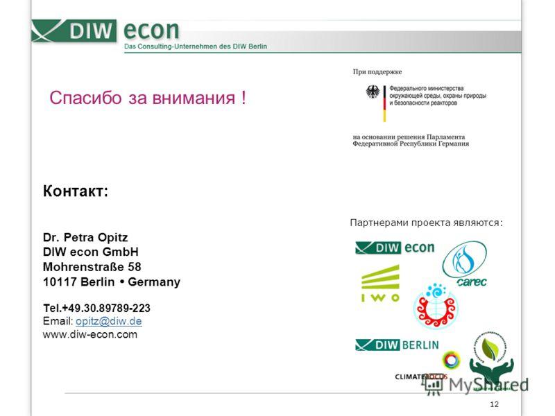 12 Контакт: Dr. Petra Opitz DIW econ GmbH Mohrenstraße 58 10117 Berlin Germany Tel.+49.30.89789-223 Email: opitz@diw.deopitz@diw.de www.diw-econ.com Партнерами проекта являются: Спасибо за внимания !