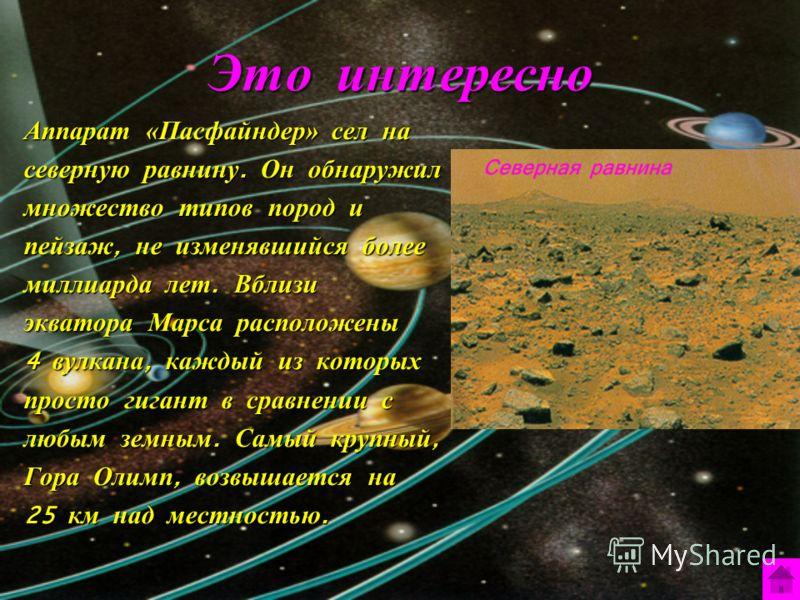 Это интересно Аппарат «Пасфайндер» сел на северную равнину. Он обнаружил множество типов пород и пейзаж, не изменявшийся более миллиарда лет. Вблизи экватора Марса расположены 4 вулкана, каждый из которых просто гигант в сравнении с любым земным. Сам