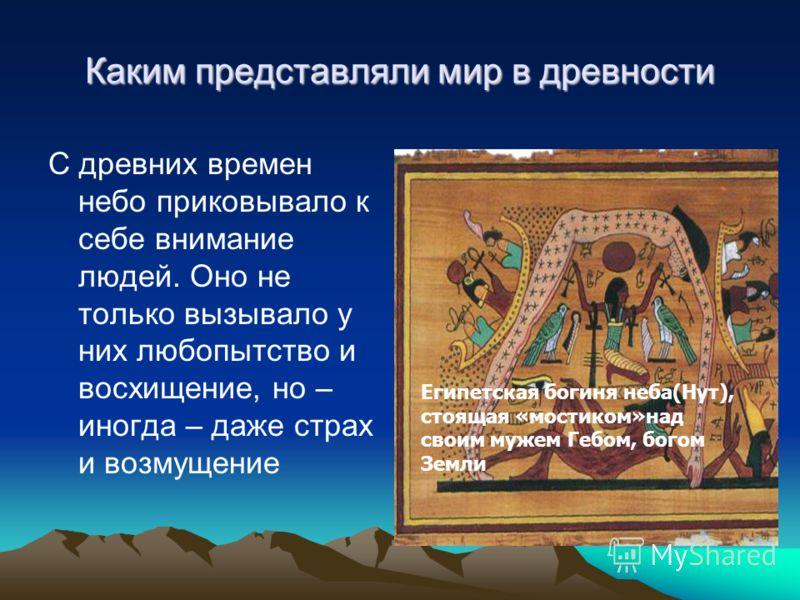 Каким представляли мир в древности С древних времен небо приковывало к себе внимание людей. Оно не только вызывало у них любопытство и восхищение, но – иногда – даже страх и возмущение Египетская богиня неба(Нут), стоящая «мостиком»над своим мужем Ге